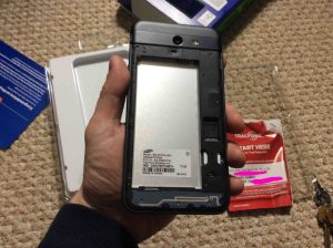 TracFone Samsung Galaxy J7 Sky Pro picture gallery. Picture of the Samsung Galaxy J7 Sky Pro Smart Phone with back cover removed, without battery.