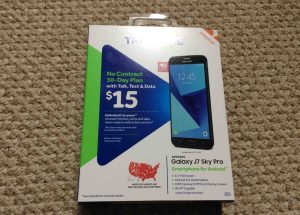 TracFone Samsung Galaxy J7 Sky Pro picture gallery. Front view picture of the original packaging for the Samsung Galaxy J7 Sky Pro smart phone.