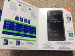 Picture of the Samsung Galaxy J7 Sky Pro TracFone, original packaging with the front flap open.