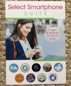 Picture of the Select Smart Phone Suite advertisement pamphlet, front view.