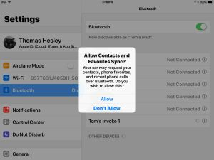 Picture of the Allow Contacts and Favorites Sync prompt screen, as displayed on an Apple iPad iOS device.