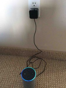 Picture of the Amazon Echo 2nd gen Amazon Echo smart speaker, powering up.