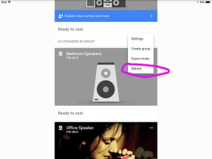 Picture of the Google Chromecast Audio receiver, as shown in the Google Home app, with its Reboot option circled.