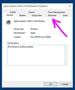 Picture of the Agere Systems USB 2.0 Soft Modem Configuration screen on Windows 10, with the Advanced tab highlighted.