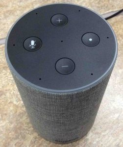 Picture of the Amazon Alexa Echo Gen 2 smart speaker, top front view.