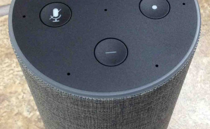 Picture of the Amazon Alexa Echo Gen 2 smart speaker, top front view, showing ready for factory default reset.