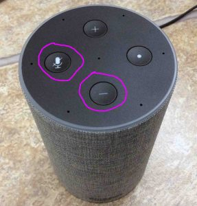 Picture of the Amazon Echo Gen 2 smart speaker reset button location. It's a button combination of the Mic Mute and Volume Down buttons, as circled in purple