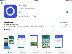 Picture of the Cortana App download page inthe App Store.