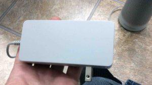 Picture of the Harman Kardon Microsoft Invoke smart speaker AC power adapter, side view. Power cord specs for Invoke.