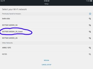 Screenshot of the Alexa app on iOS in 2018, displaying its -Setup-Select Your Wi-Fi Network- screen, with the desired network circled.