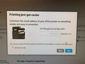 Picture of the HP Color Laserjet Pro MFP M477 driver installer, displaying its - Set Printer Email Address- screen.