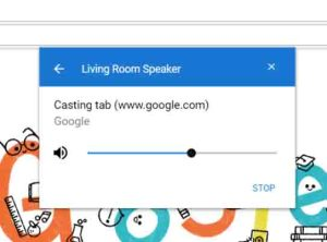 How to play music from PC on Google Home speakers. Screenshot of the Google Chrome browser, showing the -Living Room Speaker Casting- window.