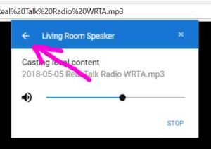Screenshot of the Google Chrome browser on PC, showing the -Casting Local Content to Living Room Speaker- window, with the -Back-link highlighted.