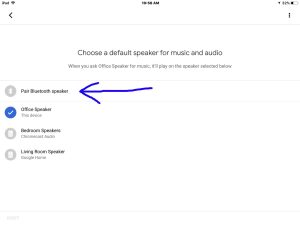How to pair JBL Clip 3 with Google Home speakers. Picture of the Google Home app on iOS in 2018, showing its -Choose Default Speaker- screen, with the -Pair Bluetooth Speaker- item highlighted.
