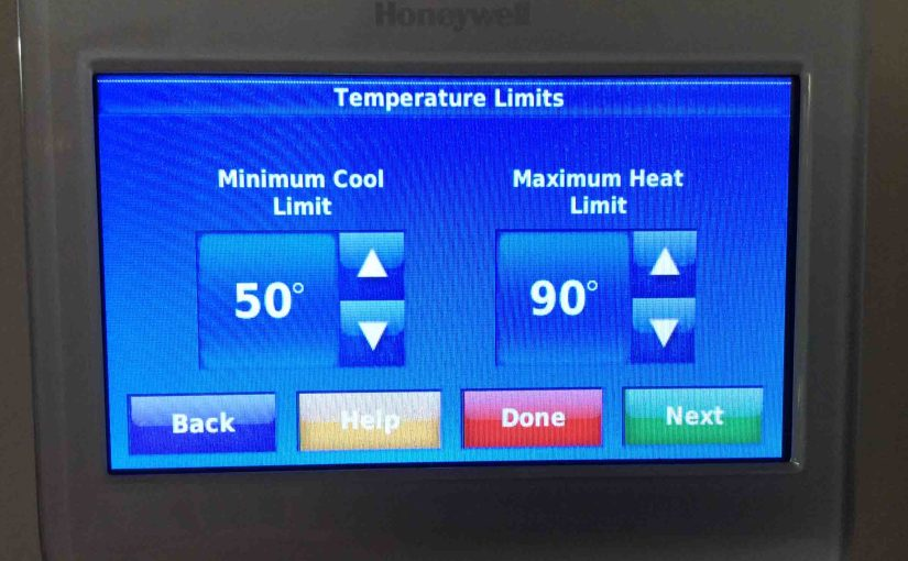 Picture of the Honeywell RTH9580WF WiFi thermostat, showing its -Temperature Limits- screen.