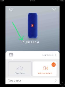 JBL Flip 4 change name. Screenshot of the JBL Connect app, showing its -Settings- screen, with the -Edit Speaker Settings- button highlighted.
