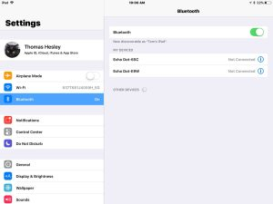 Screenshot of the iOS iPad Air, showing previously paired Bluetooth devices list.
