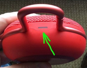 JBL Clip 3 buttons guide. JBL Clip 3 portable wireless bluetooth speaker turned OFF. Showing dark status lamp highlighted.