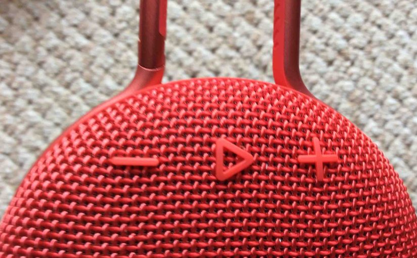 Picture of the JBL Clip3 waterproof Bluetooth speaker, front view, showing the Play-Pause and Volume buttons.