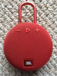 Picture of the JBL Clip 3 waterproof bluetooth speaker, front view.