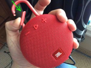 Picture of the JBL Clip 3 wireless Bluetooth speaker, front view, showing the clip held open.