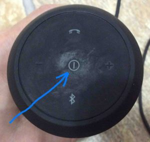 Picture of the JBL Flip 2 wireless speaker, powered OFF, showing its -Power- button highlighted.