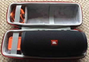 Picture of the Faylapa EVA hard case for the JBL Charge 3 Bluetooth speaker. Showing the case open, with the speaker inside.