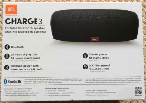 Picture of the JBL Charge 3 Bluetooth speaker and power bank, original box, side 3. JBL Charge 3 power bank Bluetooth speaker review, features, specs.
