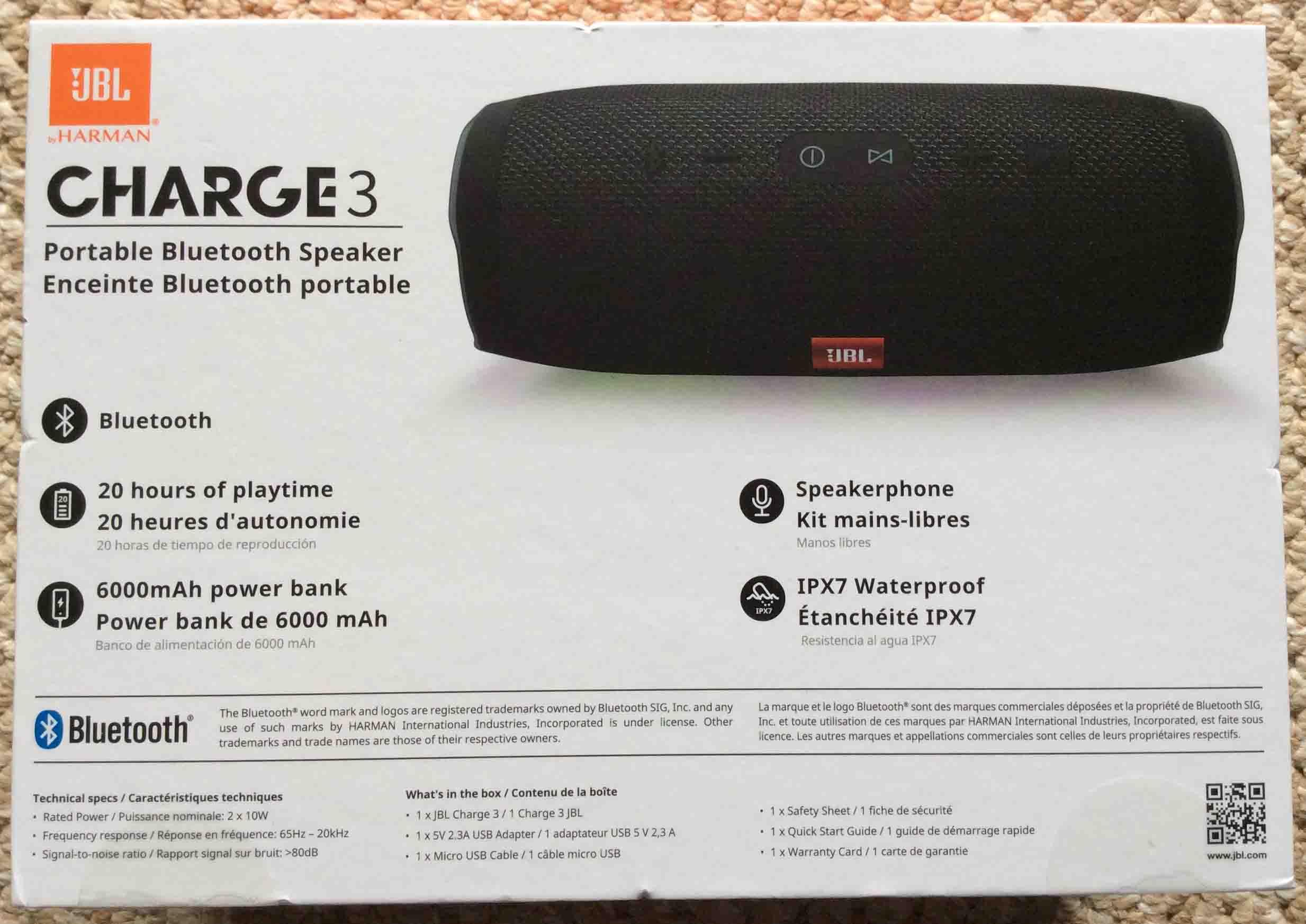 Jbl Charge 3 Waterproof Wireless Bluetooth Speaker Picture Gallery