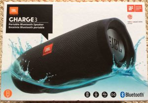 JBL Charge 3 waterproof wireless Bluetooth speaker picture gallery. Picture of the JBL Charge 3 portable Bluetooth speaker, original box, side 1.