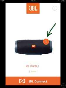Screenshot of the JBL Connect Plus app on iOS. Showing similar screen to the the JBL Xtreme speaker, needing a firmware update. Notification symbol for that is highlighted.
