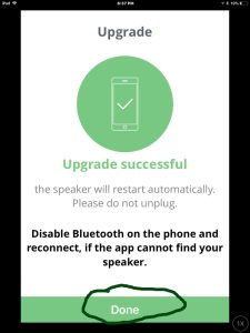 Screenshot of the JBL Connect Plus app on iOS, showing that the new firmware update to the speaker is successful. Done button highlighted.