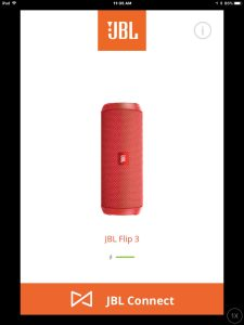 Screenshot of the JBL Connect Plus app on iOS. Showing its JBL Flip 3 speaker Home screen, with no notifications marker displayed. Updating firmware on JBL Flip 3 Bluetooth speaker.