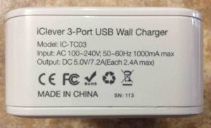 Picture of the iClever 3-port USB wall charger, model IC-TC03, Showing its specs label side. How to Charge JBL Flip 3 splashproof Bluetooth speaker.
