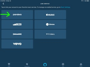 Screenshot of the Alexa app on iOS, showing its -Link Service- screen, with the Pandora music service button highlighted.