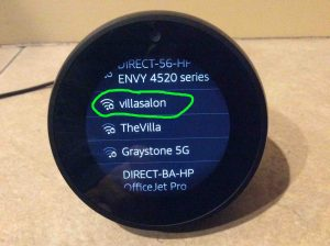 Picture of the Alexa Echo Spot smart speaker, showing its Connect To Network screen with the VillaSalon WiFi network highlighted.