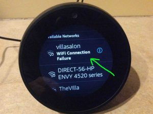 Picture of the speaker showing that the attempted WiFi connection has failed. Echo Spot WiFi Setup.