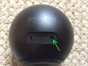 Picture of the Echo Spot Amazon speaker, back view, showing the audio output headphone plug highlighted.