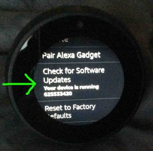 Picture of the -Device Options- screen, with the -Check For Software Updates- choice highlighted.