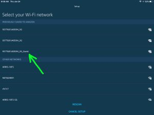 Screenshot of the Alexa app on iOS showing its -Select Your WiFi Network- screen, with the network we want highlighted.