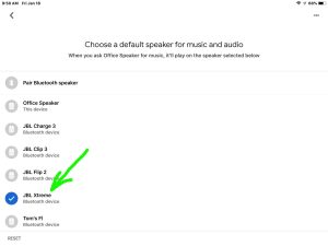 Screenshot of the Google Home app on iOS, displaying its -Choose Default Speaker- page for our -Office Speaker-, with the JBL Xtreme Bluetooth speaker highlighted.