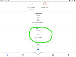 Screenshot of the Google Home app, iOS version, showing its -Home- page, with the -Office- group circled.