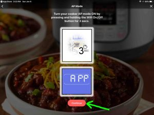 Screenshot of the Instant Pot app on iOS, displaying its -AP Mode- page with the -Continue- button highlighted.