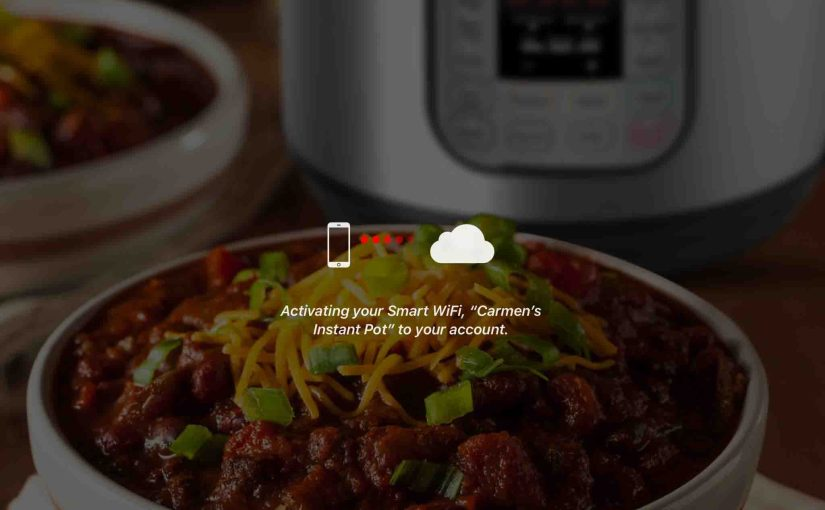 Screenshot of the Instant Pot app on iOS, displaying its -Activating Your Smart WiFi- page.