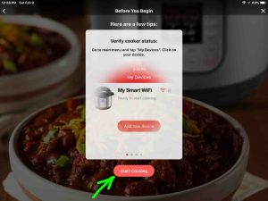 Screenshot of the Instant Pot app on iOS, showing its -Verify Cooker Status- page, with the -Start Cooking- button highlighted.