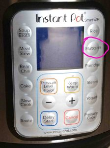Picture of the Instant Pot smart pressure cooker front panel, showing the -Multigrain- button circled.
