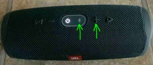 Picture of the Charge 4 BT speaker, top view, showing the Bluetooth and Volume Up buttons highlighted.