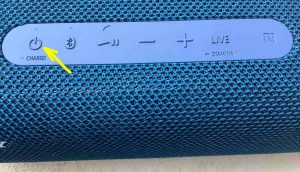 The -Power- button on the Sony SRS XB33 speaker. How to Check Sony SRS XB33 Battery Life.
