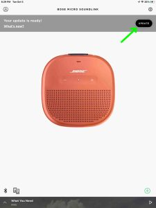 Screenshot of the Bose Connect app displaying the Update Ready page and Update button for the SoundLink Micro speaker.