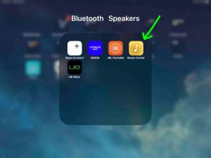 Screenshot of an iPadOS device, showing the Sony Music Center app in a folder called Bluetooth Speakers.